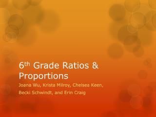 6 th  Grade Ratios & Proportions