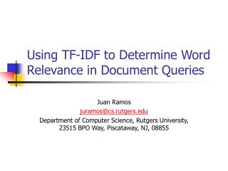 Using TF-IDF to Determine Word Relevance in Document Queries