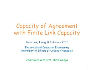 Capacity of Agreement with Finite Link Capacity