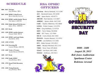 0800 - 1600 August 20, 2013 Bob Jones Auditorium Sparkman Center Redstone Arsenal