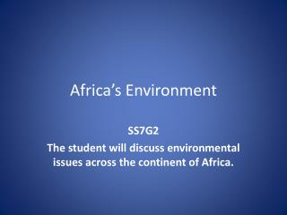 Africa�s Environment