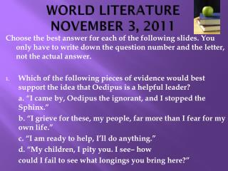 WORLD LITERATURE NOVEMBER 3, 2011