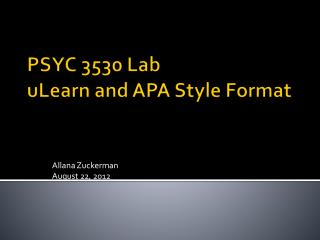 PSYC 3530 Lab uLearn  and APA Style Format