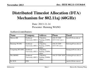 Distributed Timeslot Allocation (DTA) Mechanism for  802.11aj (60GHz)