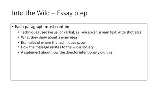 Into the Wild – Essay prep
