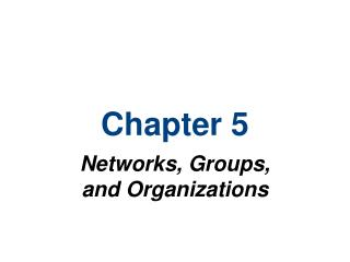 Networks, Groups, and Organizations