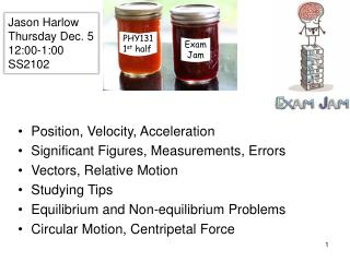 Position, Velocity, Acceleration Significant Figures, Measurements, Errors