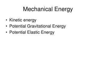 Mechanical Energy