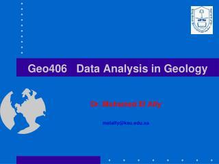Geo406   Data Analysis in Geology