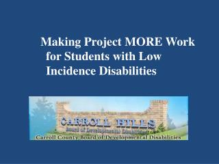 Making Project MORE Work for Students with Low Incidence Disabilities