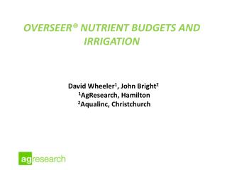 OVERSEER® Nutrient budgets and Irrigation
