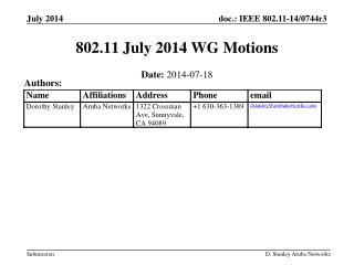 802.11 July 2014 WG Motions