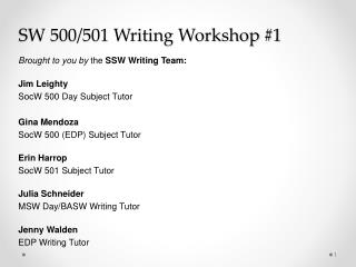 SW 500/501 Writing Workshop #1