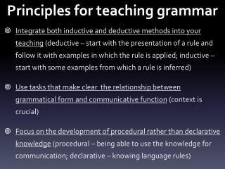 Principles for teaching grammar