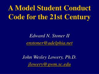 A Model Student Conduct Code for the 21st Century