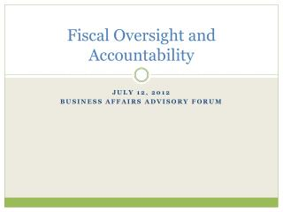 Fiscal Oversight and Accountability