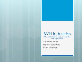 BVN Industries Where the best quality, creates the best experience!