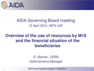 AIDA Governing Board meeting 12 April 2012, INFN-LNF