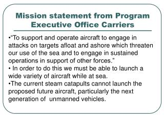 Mission statement from Program Executive Office Carriers