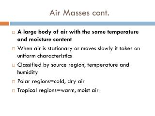 Air Masses cont.