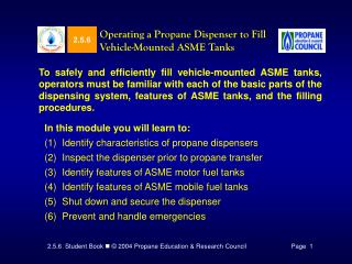 Operating a Propane Dispenser to Fill Vehicle-Mounted ASME Tanks