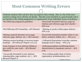 Most Common Writing Errors