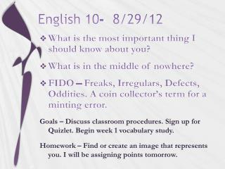 English 10-   8/29/12