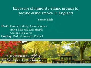 Exposure of minority ethnic groups to  second-hand smoke, in England