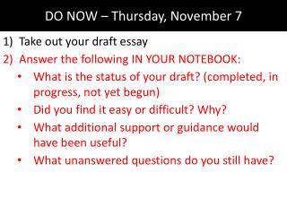DO NOW – Thursday, November 7