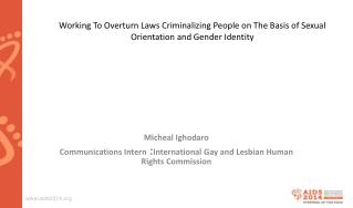 Micheal Ighodaro Communications Intern  : International Gay and Lesbian Human Rights Commission