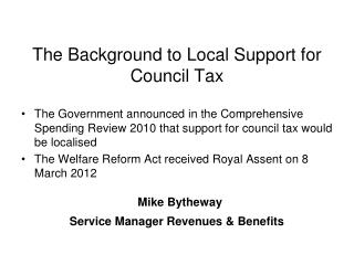 The Background to Local Support for Council Tax
