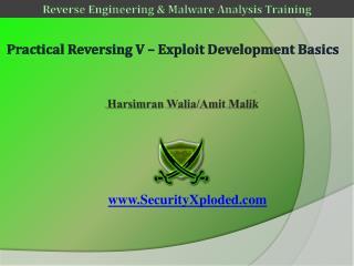 Practical Reversing  V –  Exploit Development  B asics