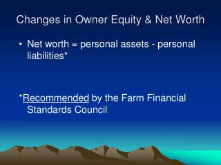 Changes in Owner Equity & Net Worth