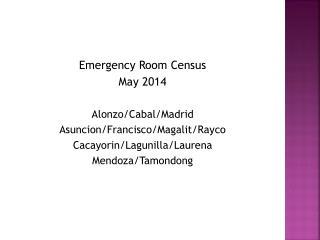 Emergency Room Census May 2014 Alonzo/Cabal/Madrid Asuncion/Francisco/ Magalit / Rayco
