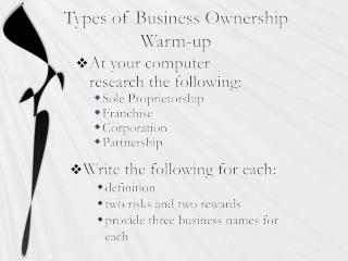 Types of Business Ownership Warm-up