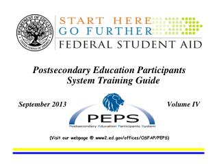 Postsecondary Education Participants System Training Guide               September 2006