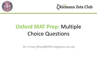 Oxford MAT Prep:  Multiple Choice Questions