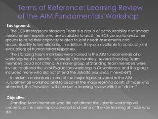 Terms of Reference: Learning Review of the AIM Fundamentals Workshop