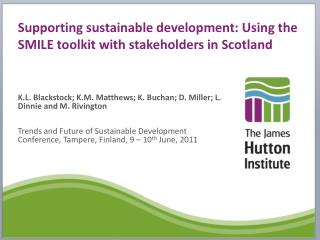 Supporting sustainable development: Using the SMILE toolkit with stakeholders in Scotland