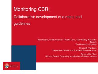 Monitoring CBR:  Collaborative development of a menu and guidelines