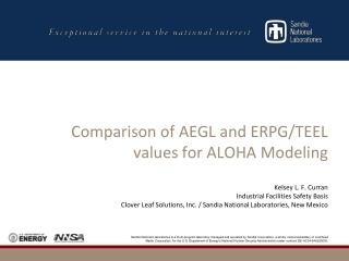 Comparison of AEGL and ERPG/TEEL values for ALOHA Modeling