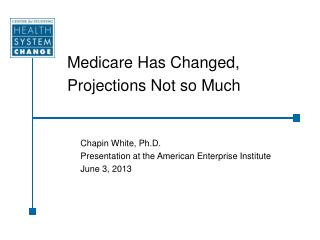 Medicare Has Changed, Projections Not so Much