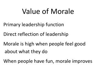 Value of Morale
