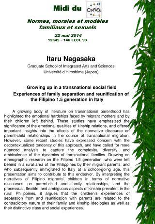 Itaru Nagasaka Graduate School of Integrated Arts and Sciences Université d'Hiroshima (Japon)