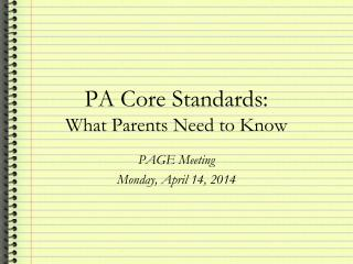PA Core Standards:  What Parents Need to Know