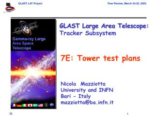 7E: Tower test plans