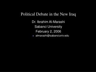 Political Debate in the New Iraq