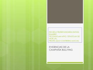 EVIDENCIAS DE LA CAMPAÑA BULLYING