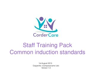 Staff  Training  Pack Common induction standards