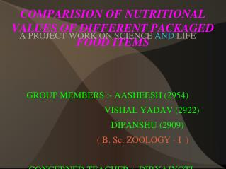 COMPARISION OF NUTRITIONAL VALUES OF DIFFERENT PACKAGED FOOD ITEMS